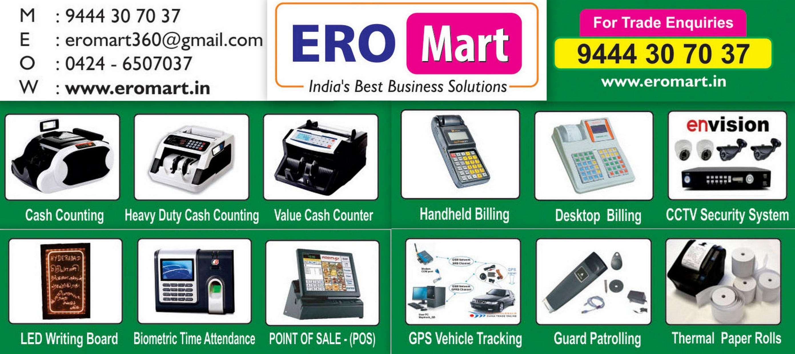 ERO MART banner - One Stop Shop for Cash Counting Machines, Billing Solutions and All types of Office Automation Products